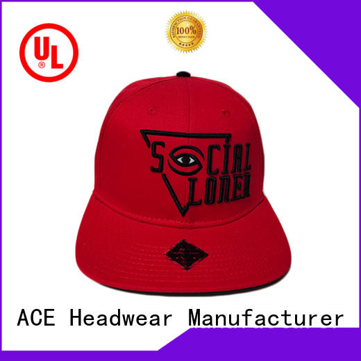 ACE panel black snapback cap get quote for fashion