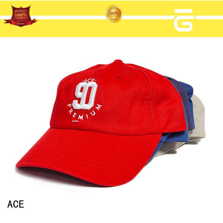 ACE durable black baseball cap bulk production for baseball fans
