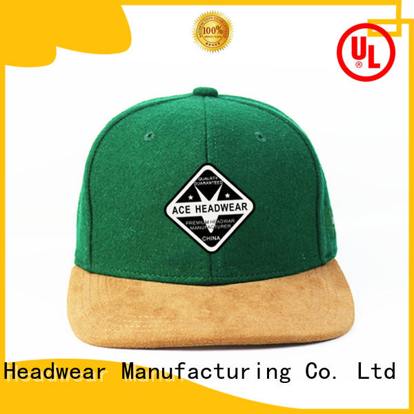 ACE plain black snapback cap bulk production for beauty