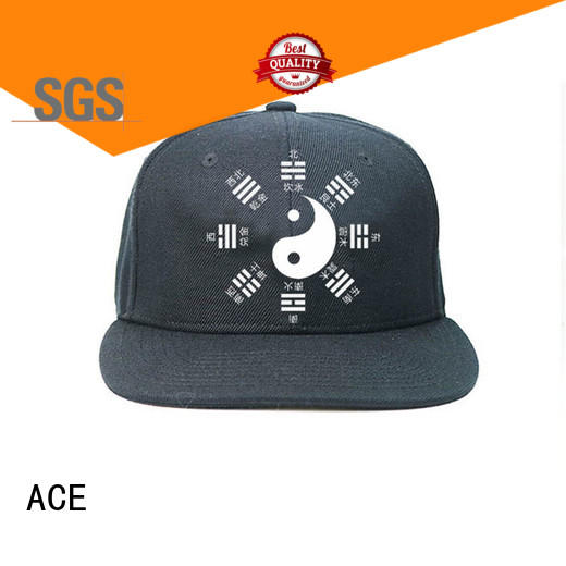ACE embroidery mens black snapback hats OEM for beauty