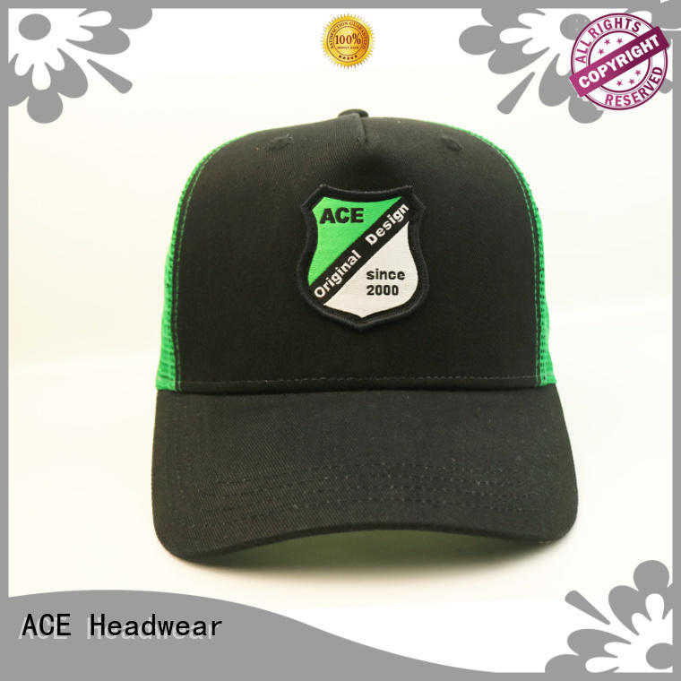 ACE curved black trucker cap free sample for fashion