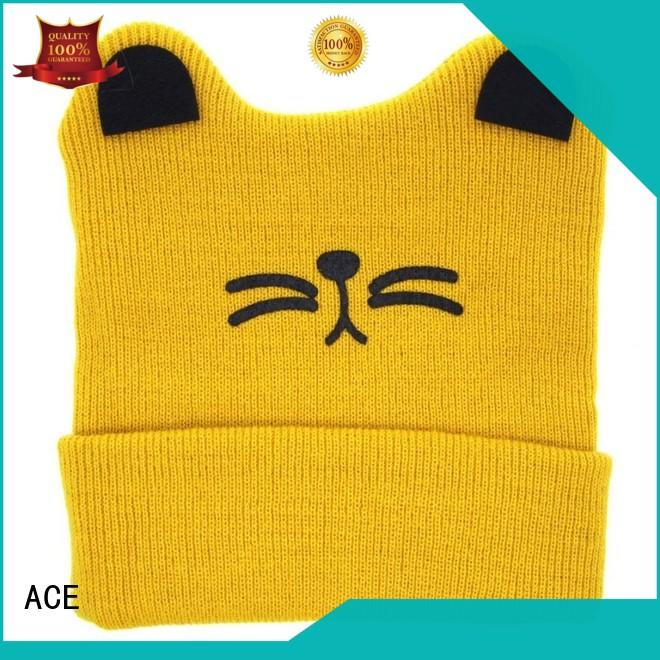 ACE black knit beanie hats for wholesale for fashion