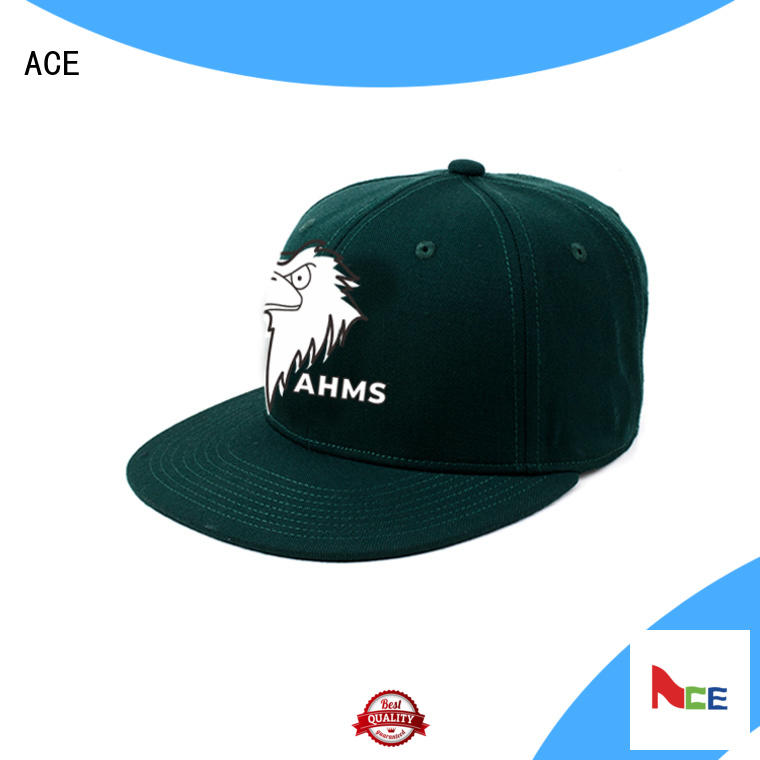 ACE adjustable black snapback hat OEM for fashion
