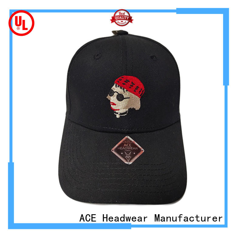 ACE Breathable black baseball cap get quote for fashion