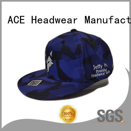 ACE pringting black snapback cap for wholesale for beauty