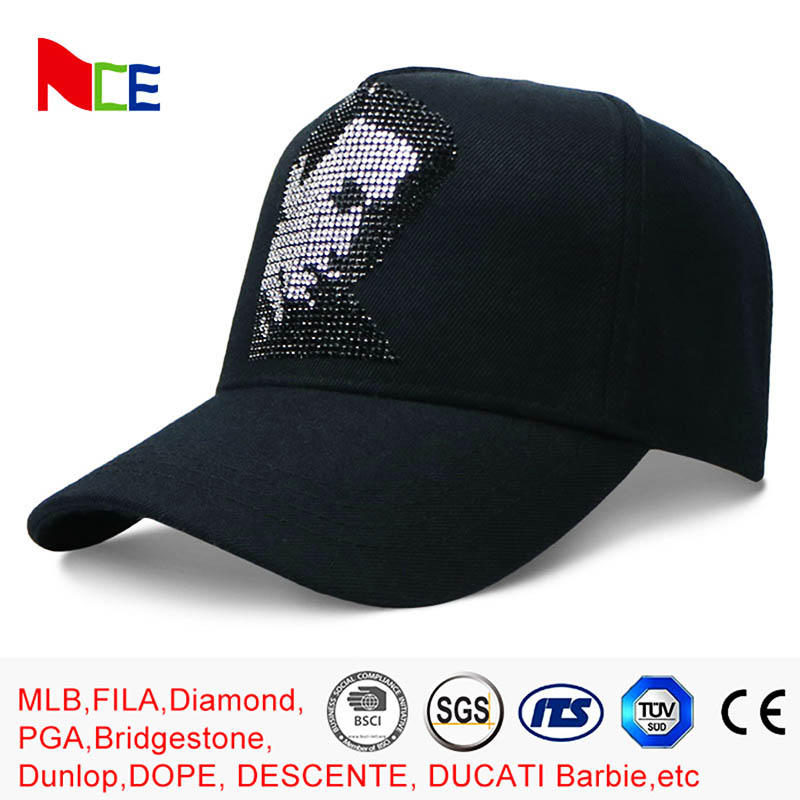 Rhinestone Cotton 5 Panel Baseball Cap Sun proof 58cm for Adult