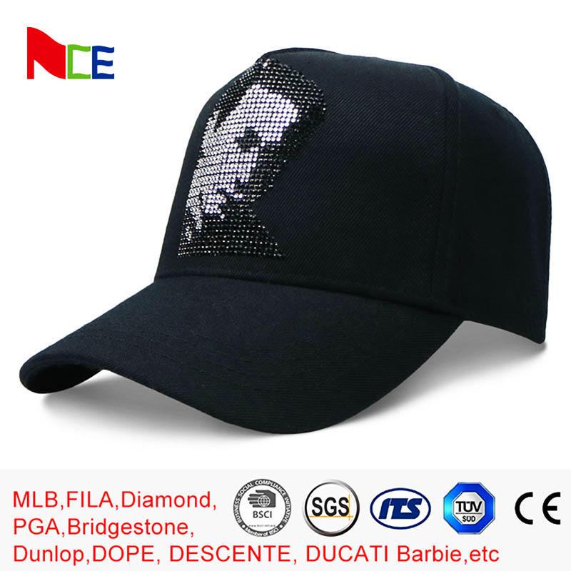 Rhinestone Cotton 5 Panel Baseball Cap Sun proof 58cm for Adult