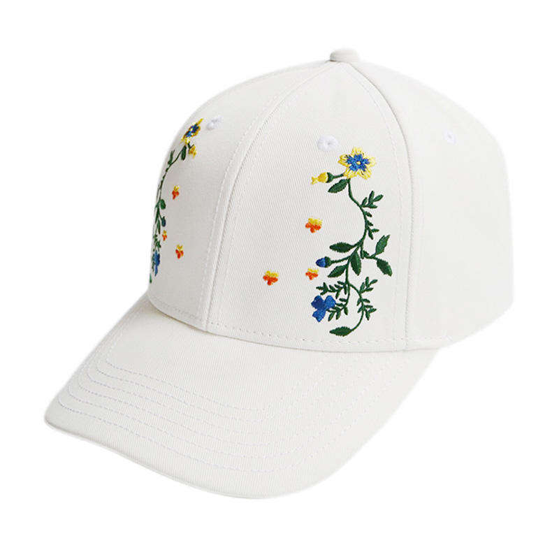 Custom Full Embroidery Flower White Cotton Baseball Caps