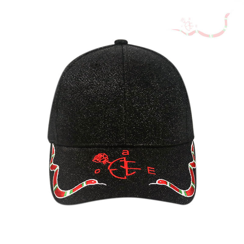 Glitter Fabric Embroidery Peak Baseball Cap