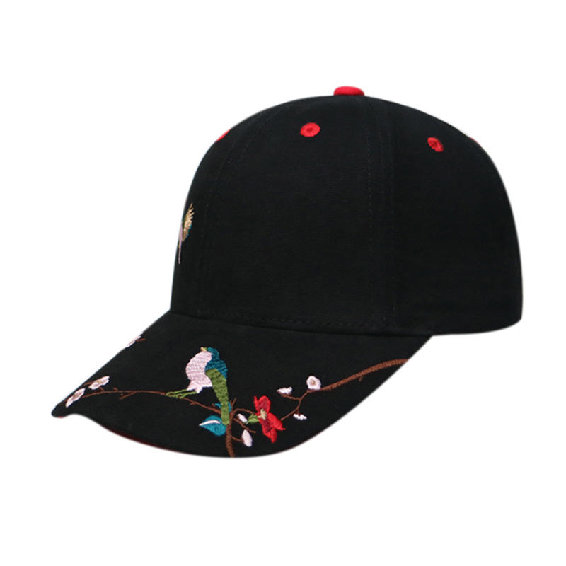 Stylish  Embroidery Black / White Curved Baseball Cap