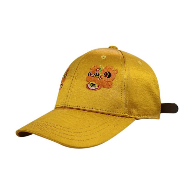 Unisex Gold Satin Genuine  Leather Buckle Baseball Caps