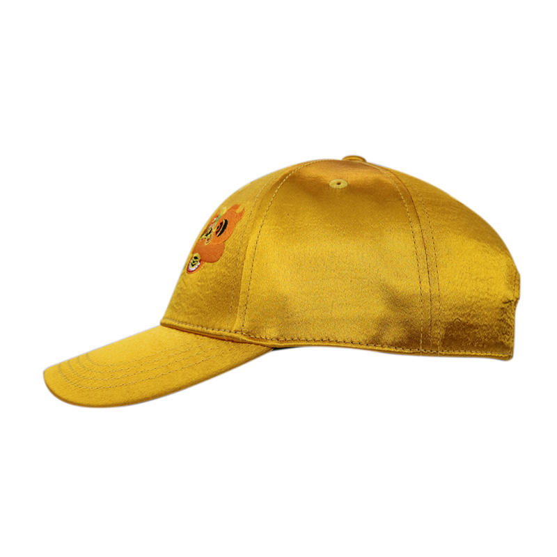 Unisex Gold Satin Genuine  Leather Buckle Baseball Caps