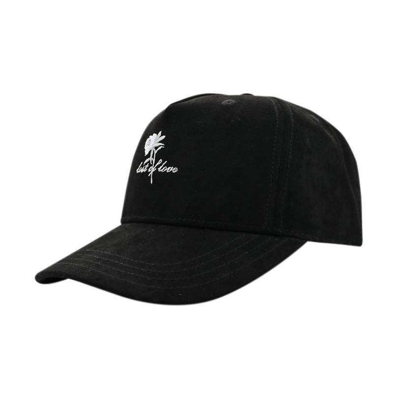 Flat Embroidery Flower Black Baseball Cap