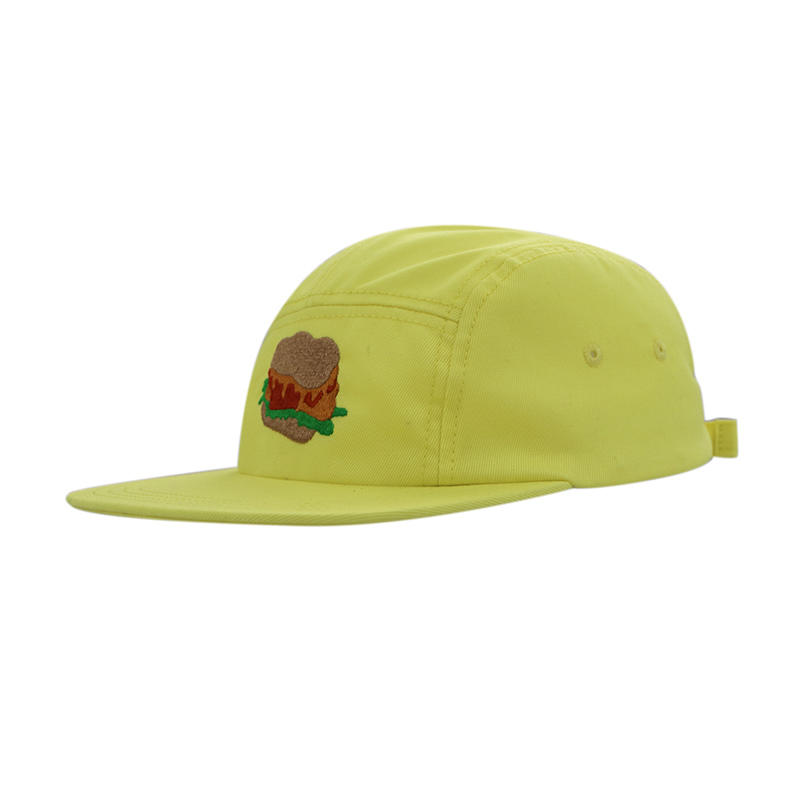 Yellow 5 Panel Embroidery Snapback Caps