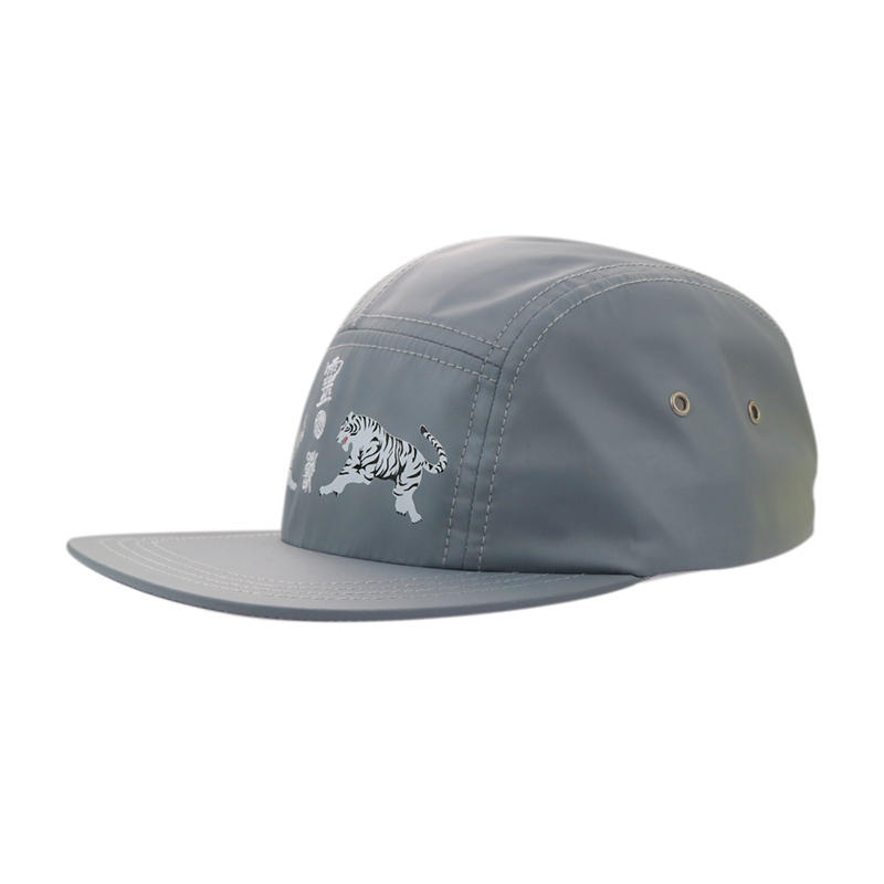 Grey 5 Panel Printing Tiger Snapback Caps