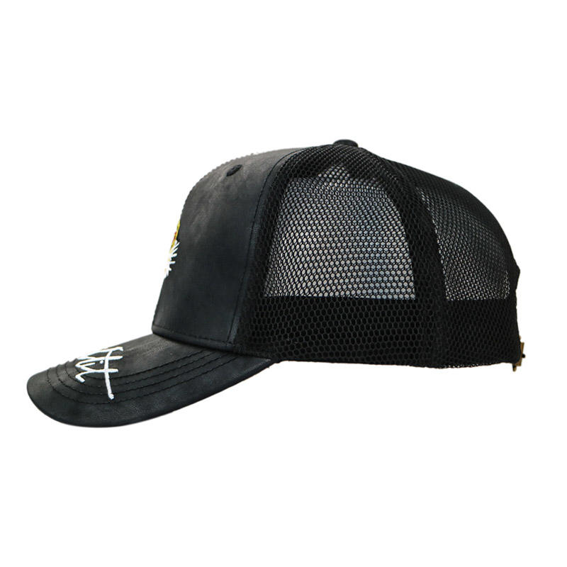 Wholesale Genuine Leather Flat Embroidery Trucker cap