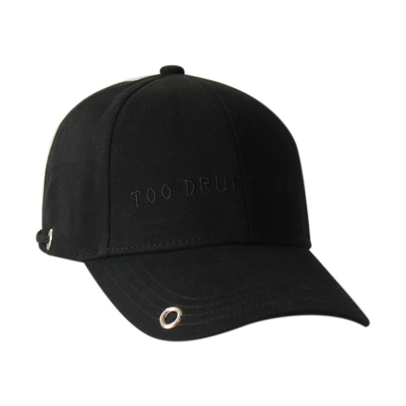 Black Wholesale Baseball Cap with Adjustable String Strap