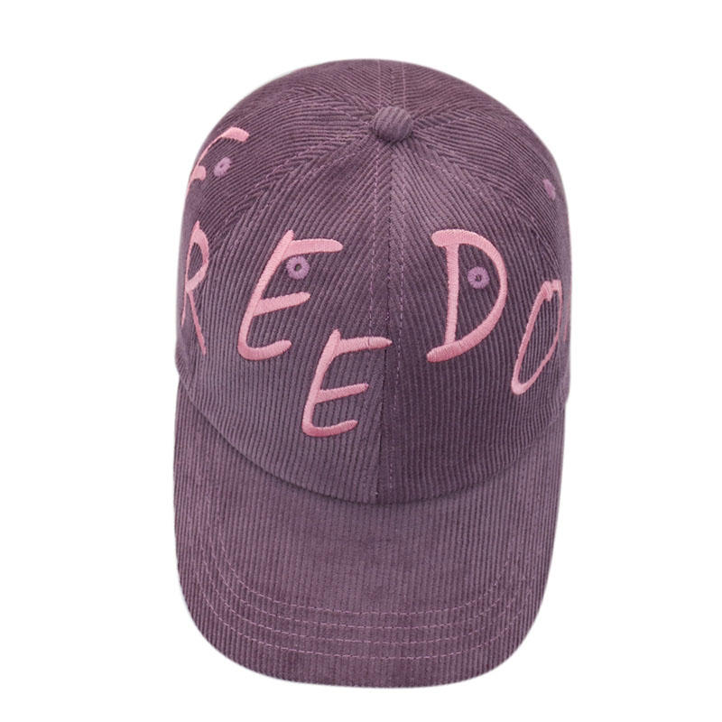 Corduroy Freedom Embroidery Baseball Caps for Women