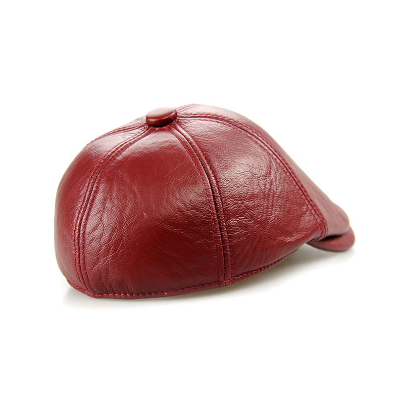 Maroon PU Leather Men Lvy Caps