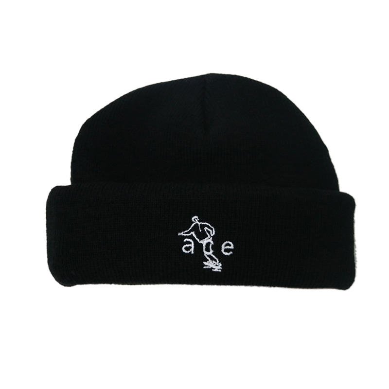 Purple / Black Patch Basic Adults Knitted Beanies