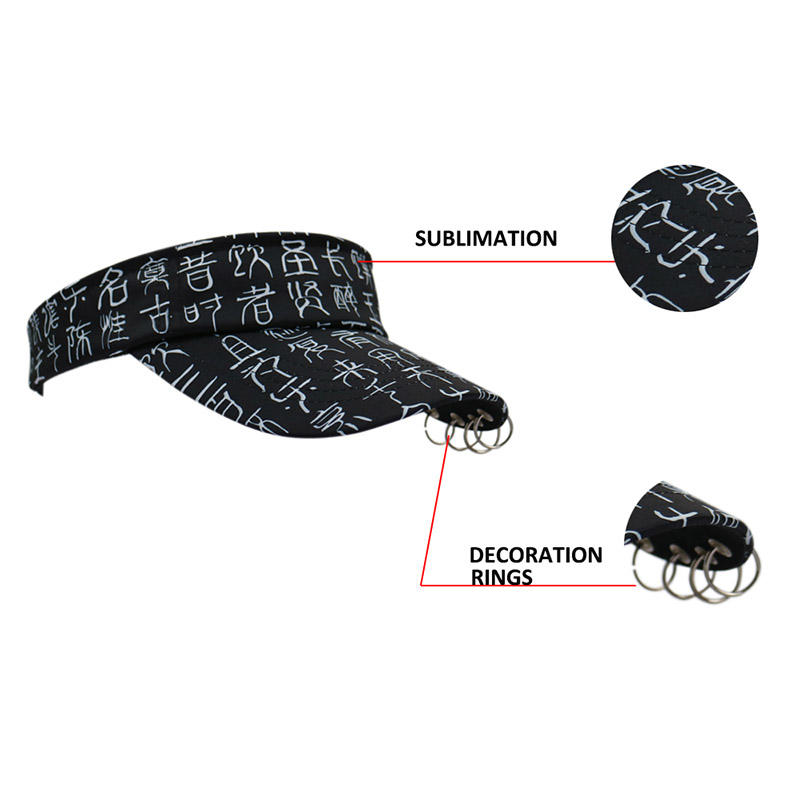 Sublimation Black Sun Visor with Rings