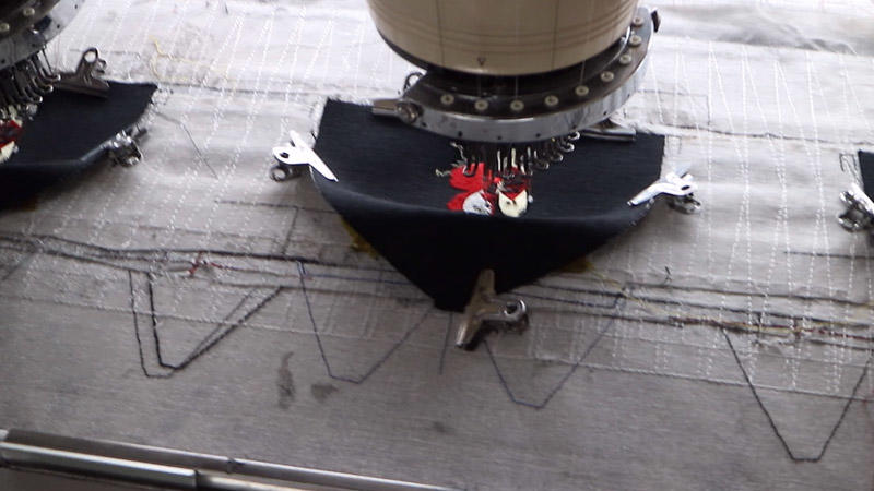 flat embroidering on front panel