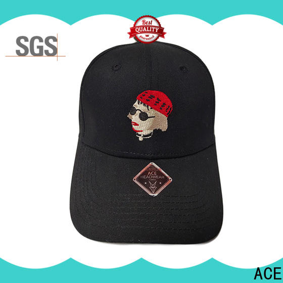 ACE flat embroidered baseball cap customization for fashion