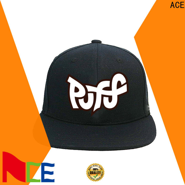 ACE pringting mens black snapback hats for wholesale for fashion