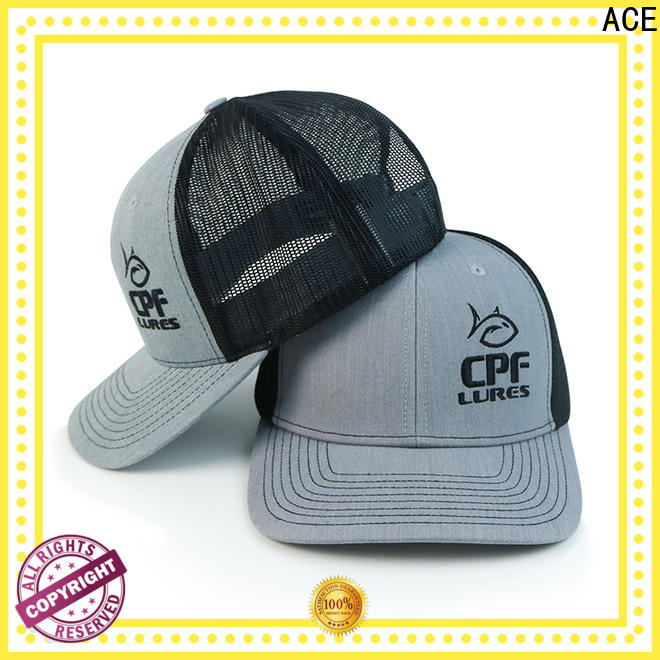 ACE words trucker caps embroidery free sample for fashion