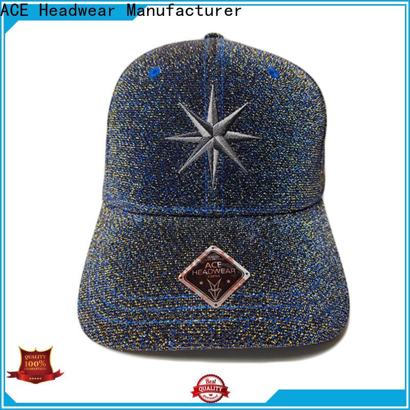 ACE peak black baseball cap OEM for baseball fans