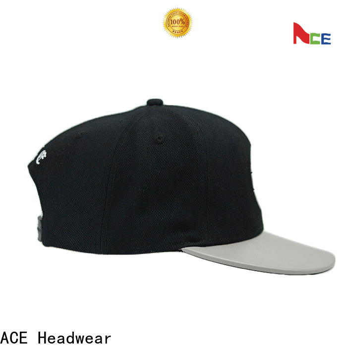 ACE pattern white snapback hat for wholesale for beauty