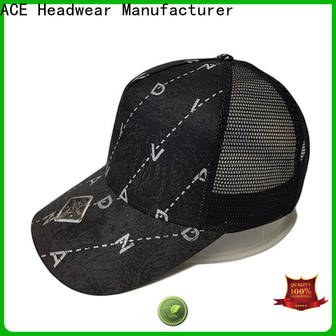 ACE solid mesh white trucker cap free sample for fashion
