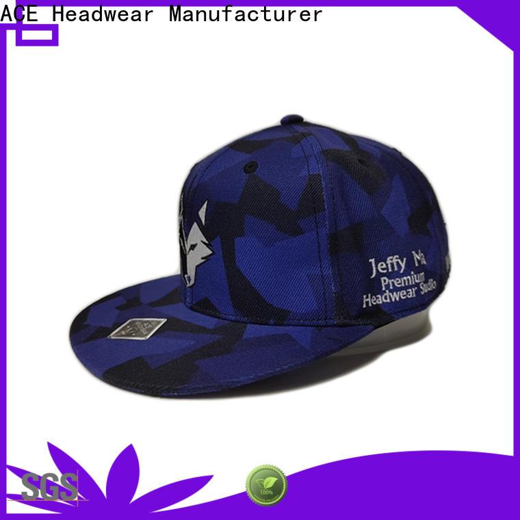 ACE Breathable black snapback cap get quote for fashion