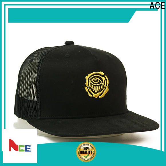 ACE solid mesh black baseball cap mens ODM for fashion