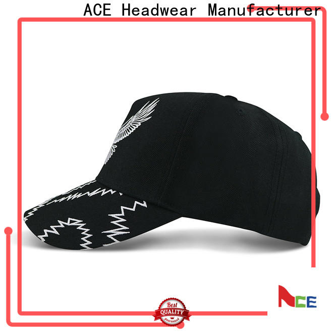 ACE leather six panel baseball caps factory for kids