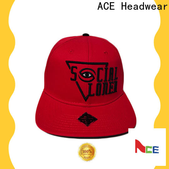 ACE logo custom 6 panel hats bulk production for beauty