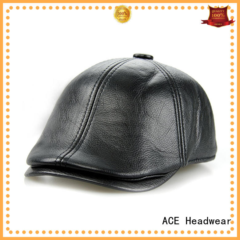 ACE maroon black beret hat ODM for fashion
