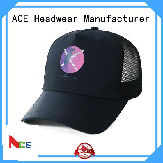 logo blue trucker cap curved for fashion ACE