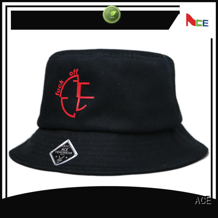 ACE brim red bucket hat supplier for fashion