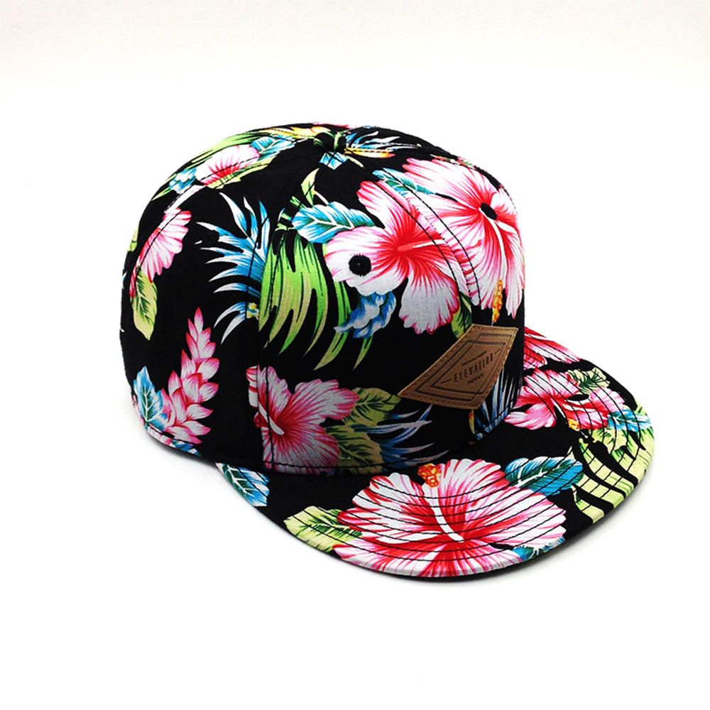 custom stylish funny blank floral brim snapback cap,plant print snapback cap