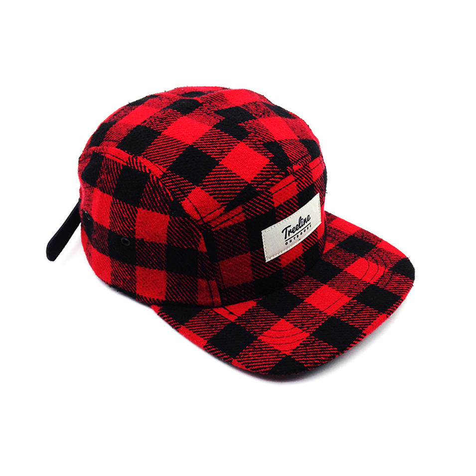 hot sale red grid snapback hat wool with adjustable for unisex