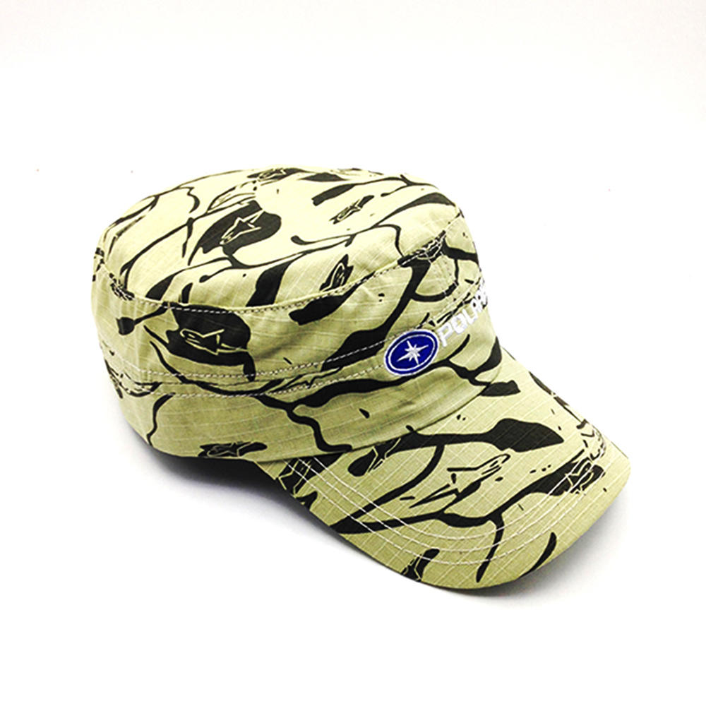 yellow military cap with printing for unisex
