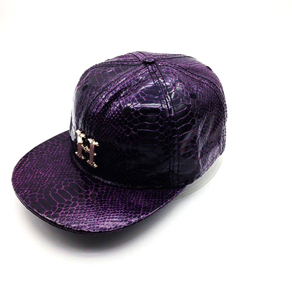 purple Crocodile grain PU snapback hat with