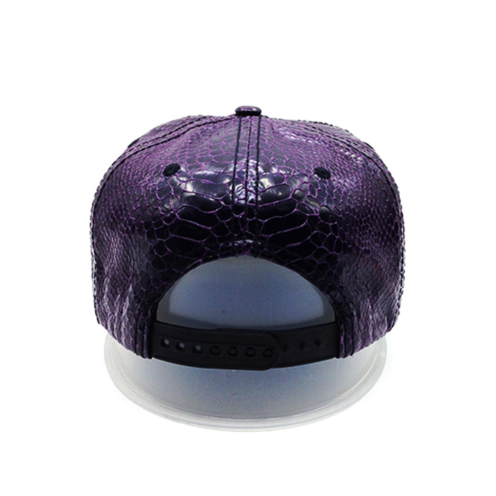 purple Crocodile grain PU snapback hat with