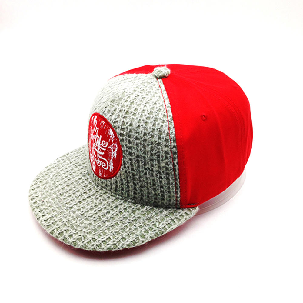 red and grey snapback hat with wool knitting for unisex