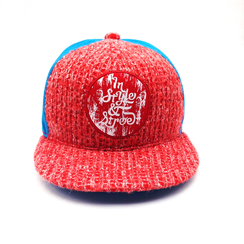 red and blue wool knitting snapback hat for unisex