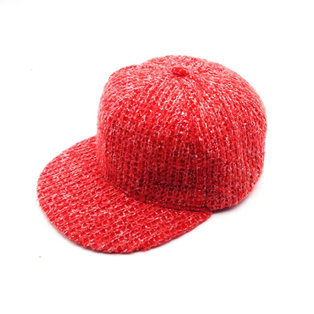 red wool knitting snapback hat