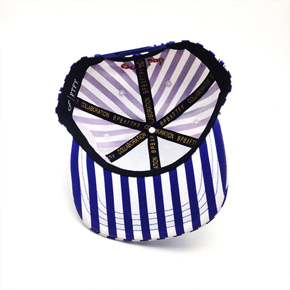blue and white stripe snapback hat with embroidery