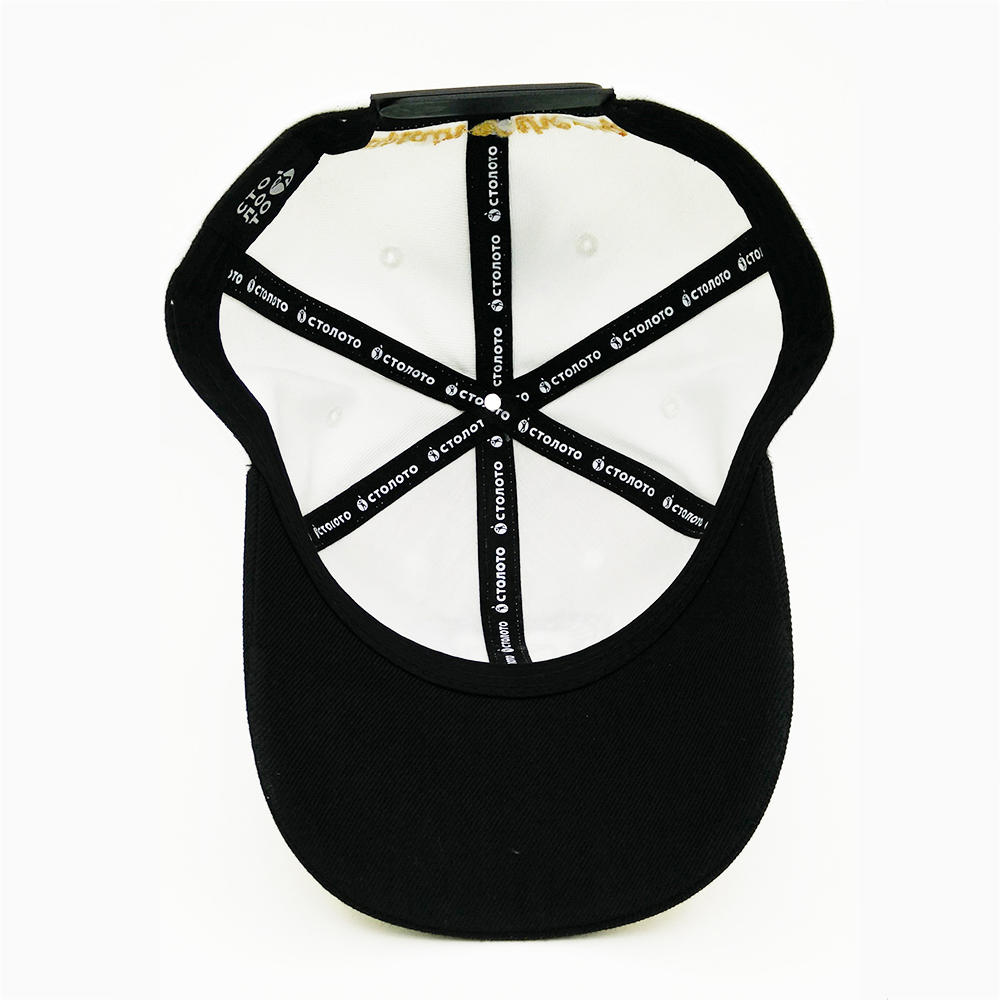 White Sports 6 panel embroidery baseball Hats with 3D embroidery for unisex