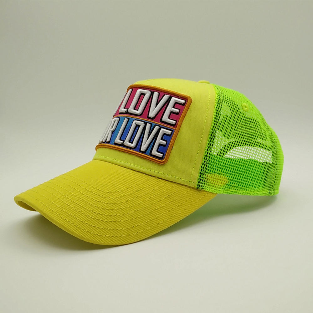 5 panel yellow trucker cap with words of